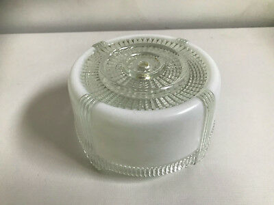 VINTAGE ART DECO  FROSTED GLASS CEILING LIGHT  SHADE Footed