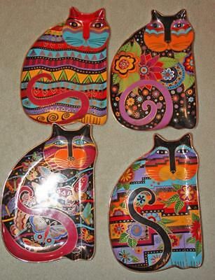Lot of 4 Royal Doulton Laurel Burch Floral Butterfly Feline Love of Cat Plates
