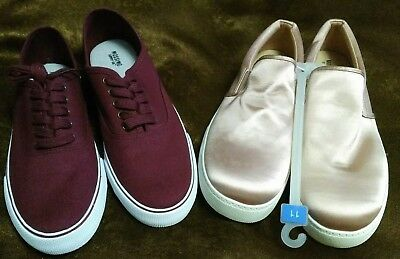 Lot of 2 pairs Womens Size 11 Mossimo Shoes/Sneakers - Burgundy &  Satin Blush