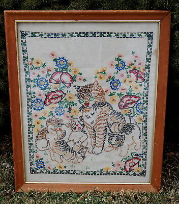 VINTAGE HAND EMBROIDERED LINEN PICTURE Heartwarming Cat with Kittens