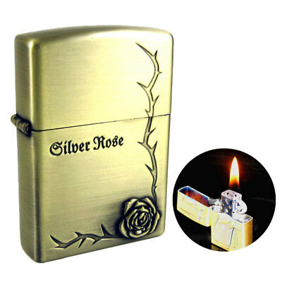 ROSE Briquet Bronze Doré Flamme kérosène Rétro métal Fire Lighters