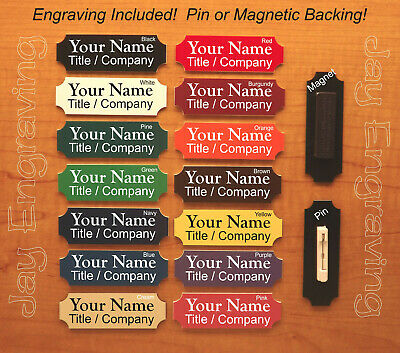 Custom Engraved 1x3 Name Tag with Pin or Magnet | Personalized Name ID Badge