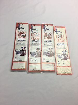 Lot of 4 packs of 6 New Old Stock Eagle Claw No. 51 Size 14 Snelled Hooks