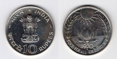 INDIEN   10 Rupees 1970   Food For All   F.A.O   Silber   #381