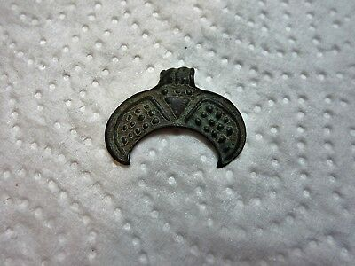 Ancient Viking Bronze Crescent Pendant Amulet