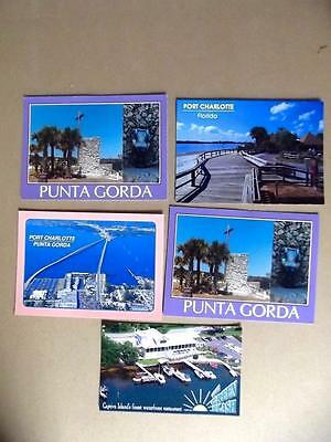 5 Vintage Unposted Florida Postcards Port Charlotte Punta Gorda Captiva Island