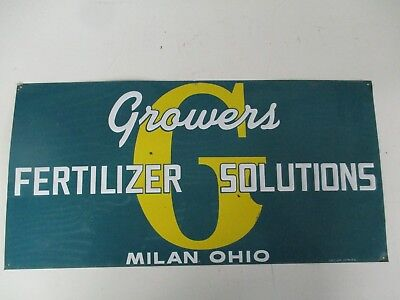 Vintage Growers Fertilizer Solutions Milan Ohio tin sign 24x12 Embossed