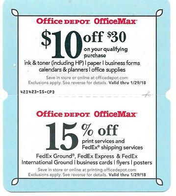 Office Depot OfficeMax $10 off $30 (not $50) 15% off print Expire 1/29/18 coupon