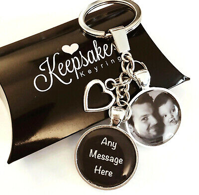 Personalised Photo Keyring - Any Message - Christmas Birthday Present Gift Box