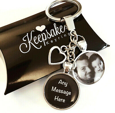 Personalised Photo Keyring - Any Message - Mothers Fathers Day Present Gift Box
