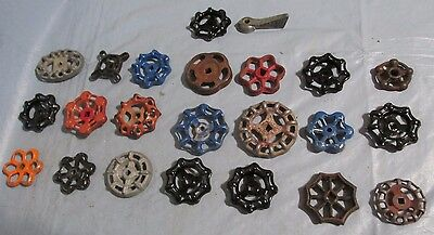 Lot of 23 Vintage Industrial Machine Age Water Valve Handles Steampunk Art used