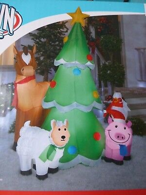 Gemmy 6.5' Christmas Tree with Farm Animals Lighted Airblown Inflatable New