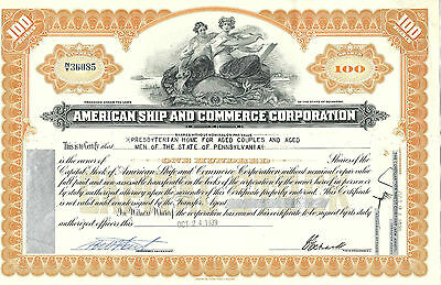DELAWARE American Ship and Commerce Corporation Stock Certificate, 1939