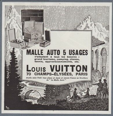 1923 French Print Ad Louis Vuitton Malle Auto 5 Usages Cases