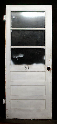 "31""x78"" Vintage Antique Wood Wooden Side Back Entry Exterior Door 3 Window Glass"