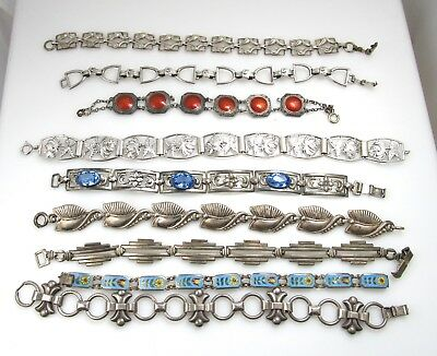 Lot Of 9 Vintage Antique Sterling Silver Bracelet Enamel Art Deco Signed Old