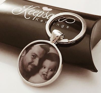Personalised Custom Photo Keyring Chain Fathers Day Birthday Present Gift Box
