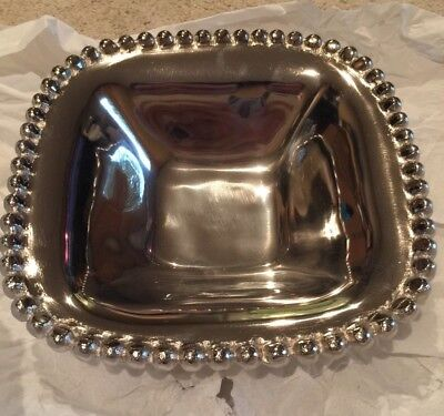 """Silver Tone Carved Edge 10"""" Large Metal Candy Dish Bowl Holiday Christmas"""