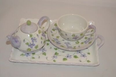 Andrea by Sadek Violet Meadows Teapot with Matching Cup, Saucer and Handled Tray
