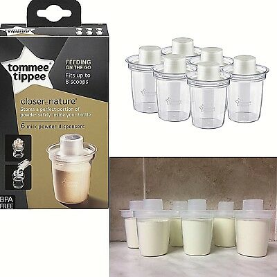 Baby Milk Powder Formula Dispensers Travel Trip Pots Tommee Tippee, Pack of 6