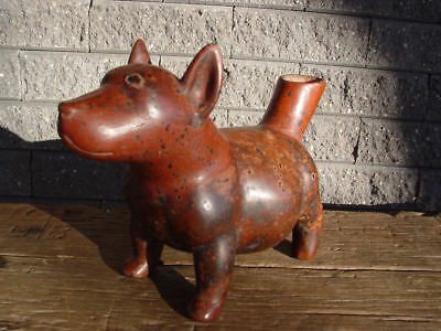 Original Colima pre-Columbian effigy pottery hollow dog vessel with red glaze