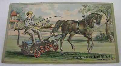 Antique Excelsior Horse Lawn Mower Farm Implement Advertising Trade Card