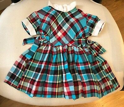 Vintage Cotton Plaid Baby Dress White Collar & Sleeve Trim Side Buckle Detail