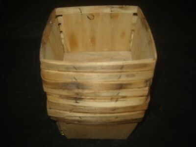 Vintage - Lot of 8 - Wood Berry Basket Primitive Strawberry Fruit Wooden Quart