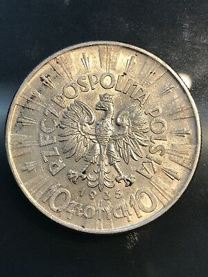 10 Zlotych 1935 Silver coin Pilsudski Poland, 6/2/17, Free Shipping