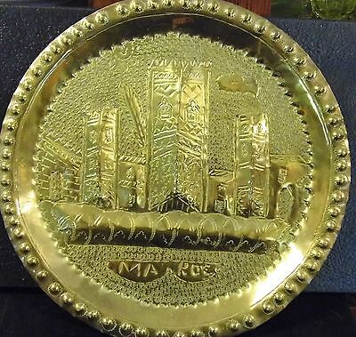 Vintage Brass Wall Hanging Decorative Hammered Plate