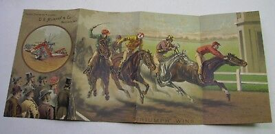 Antique Ds Morgan & Co Horse Racing Farm Implement Advertising Trade Card
