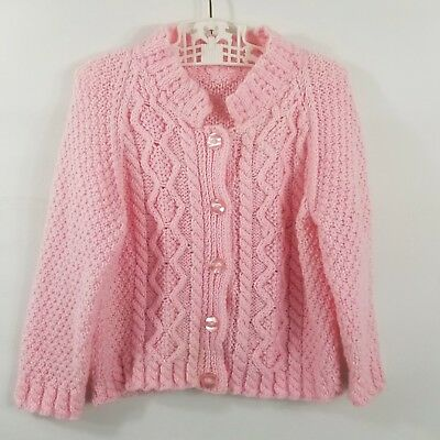 Vintage Toddler Girls Pink Cardigan Fisherman Sweater Chunky Cable Knit Size 4 5