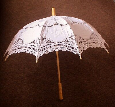 "Lace Parasol Umbrella 26"" wooden handle photography prop Decoration * MIP $45"