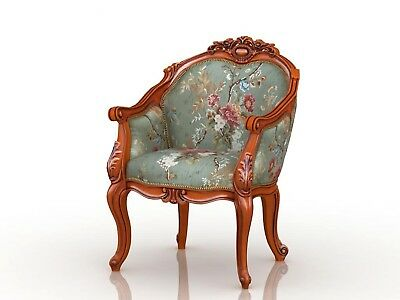 French hand carved coffee chair wood antique style with Embroidered fabric
