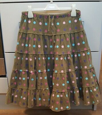 Mini Boden girl brown/green polka dot tiered skirt. Age 11-12.Corduroy.Blue,pink