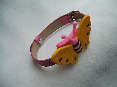 SHOE CHARM BRACELET - inspired by YELLOW BUTTERFLY - PINK STRAP
