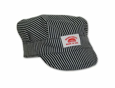 Round House Little Boys Train Conductor Engineer Hat Made in USA Stripe Child