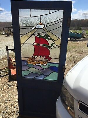 Vintage Antique Nautical Stained Glass Door