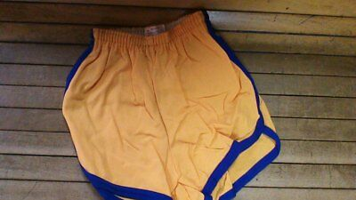 vintage 60s felco 100% nylon gym shorts usa made gold with blue stripe all sizes