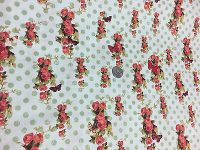 "BTY~CLOTHWORKS 100/% COTTON FABRIC ~ DEVOTION ~ BUTTERFLIES ~ BUTTER CREAM ~ 45/""W"