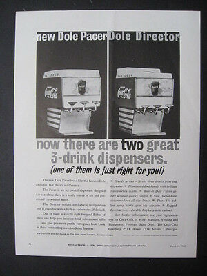 1962 Dole Pacer & Director Movie Theatre 3-Drink Coke Dispensers Page Print Ad