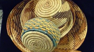 12 Pieces Vintage Hand Woven Basket Bowl Coil Native Grass Reed