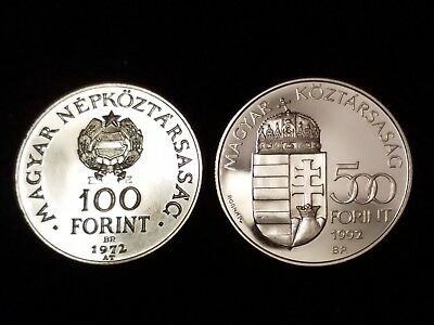 1972 & 1992 Hungary Silver Uncirculated coins - Lot of 2 (LN688)