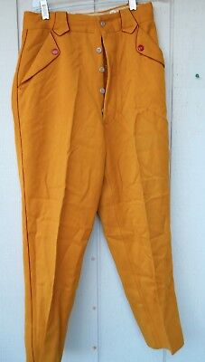 "Vintage 1940's Men's Yellow And Red Gabardine Western Button-Fly Pants Sz 27"" W"