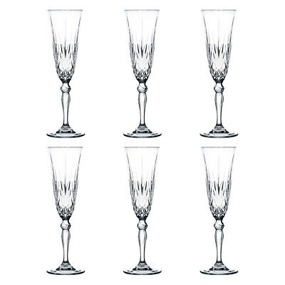 NEW RCR Crystal Melodia Champagne Flutes 160ml Set of 6