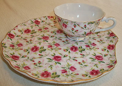 Set of 2 Lefton China Rose Chintz Clam Shell Snack Plate & Tea Cup Hand Painted
