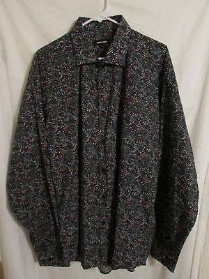 Jared Lang Shirt Sz 18  Multi Color Stained Glass 100% Cotton Spread Collar