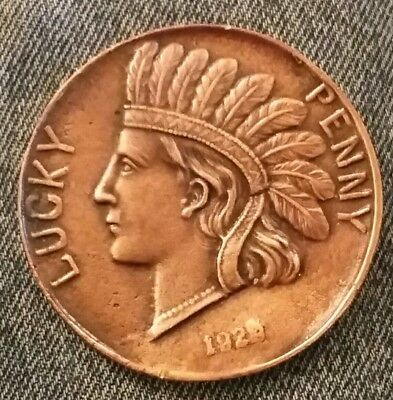 "Indian Head Souvenir Lucky Penny of Copper Country - 2 3/4"" Copper Metal"