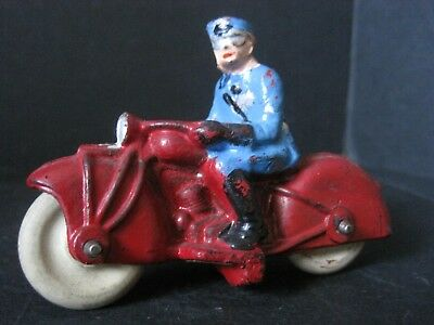 Vintage Harley Davidson Indian Police Motorcycle Toy Auburn Rubber Co. Clean