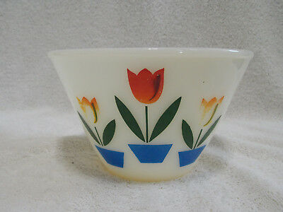 Anchor Hocking Fire King Ivory Splash Proof Tulip Bowl 6 1/2 Inch